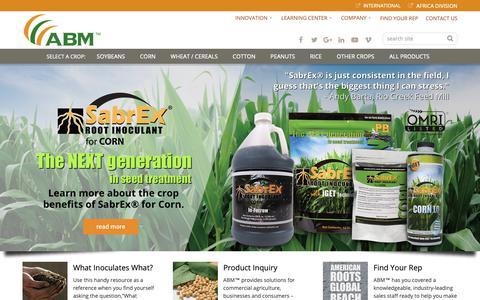 Screenshot of Home Page abm1st.com - Advanced Biological Marketing: Leading Provider of Agricultural Biologicals - captured Oct. 3, 2018
