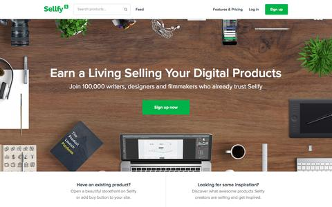 Screenshot of Home Page sellfy.com - Sell digital products, sell downloads on Sellfy - eBooks, music, video, fonts, software and more - captured March 10, 2016