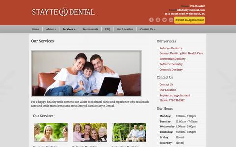 Screenshot of Services Page staytedental.com - Stayte Dental Centre Our Services - Stayte Dental Centre - captured Sept. 30, 2014