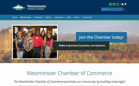 Screenshot of Home Page westminsterchamber.biz - Westminster Chamber of Commerce   The Westminster Chamber of Commerce - captured Aug. 15, 2015