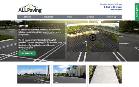 Screenshot of Services Page allpaving.com - Services - captured Sept. 30, 2014