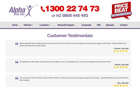 Screenshot of Testimonials Page alphacarhire.com.au - Reviews and Testimonials for Alpha Car Hire Starting From Review - captured July 25, 2016
