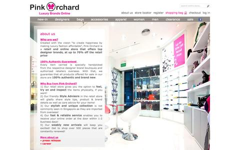 Screenshot of About Page pinkorchard.com - About Us | Pink Orchard - Luxury Brands Online - captured Oct. 31, 2014