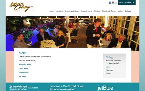 Screenshot of Menu Page thecolonypalmbeach.com - The Colony Palm Beach » Menu - captured Oct. 2, 2014