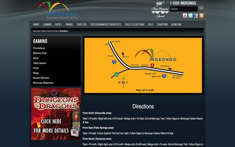 Screenshot of Maps & Directions Page morongocasinoresort.com - Directions | Morongo Casino Resort & Spa - captured Sept. 23, 2014