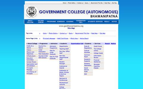 Screenshot of Site Map Page gacbhawanipatna.org - Welcome to Government Autonomous College, Bhawanipatna :: Kalahandi :: Potential for Excellence - captured May 22, 2016