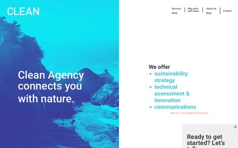 Screenshot of Home Page cleanagency.com - Clean Agency - Sustainability Consulting firm based in Los Angeles - captured May 17, 2017