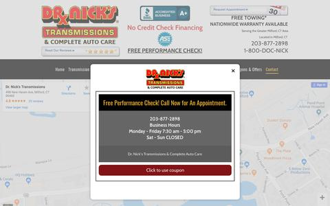Screenshot of Contact Page drnicks-milford.com - Dr. Nick's Transmissions & Complete Auto Care Milford 203-877-2898 - captured Oct. 9, 2018