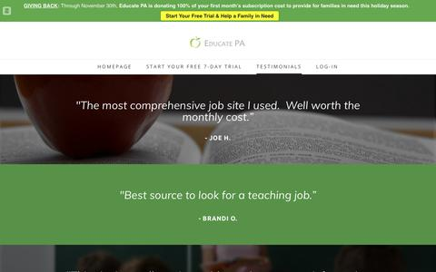 Screenshot of Testimonials Page educatepa.com - Teaching Jobs in PA | Testimonials  | Educate PA - captured Nov. 4, 2018
