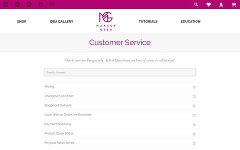 Screenshot of Support Page makeupgeek.com - Customer Service - Makeup Geek - captured July 8, 2016