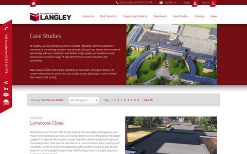 Screenshot of Case Studies Page langley.co.uk - Langley Waterproofing Systems Ltd - Case Studies - captured Sept. 27, 2018