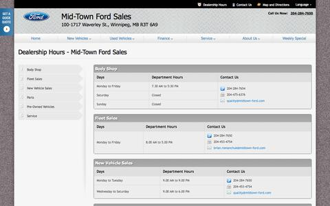 Screenshot of Hours Page dealerconnection.com - Dealership Hours at Mid-Town Ford Sales - Your Winnipeg, Manitoba Ford dealer - captured Oct. 27, 2014