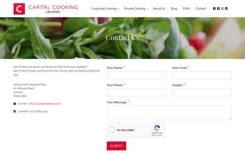 Screenshot of Contact Page capitalcooking.co.uk - Top Catering Companies London - captured Sept. 26, 2018