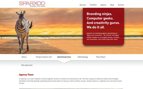 Screenshot of Team Page sparxoo.com - Tampa Ad Agency Team | Advertising Professionals Tampa | Sparxoo Agency Team - captured Sept. 22, 2014