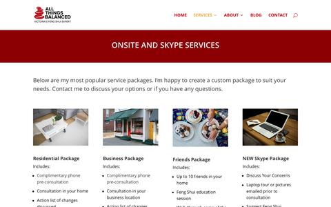 Screenshot of Services Page fengshuivictoria.com - On Site & Skype Services. Custom packages available. - captured Oct. 8, 2017