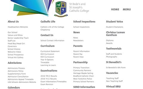 Screenshot of Home Page Menu Page sbsj.co.uk - Menu — St Bede's and St Joseph's Catholic College - captured April 5, 2017