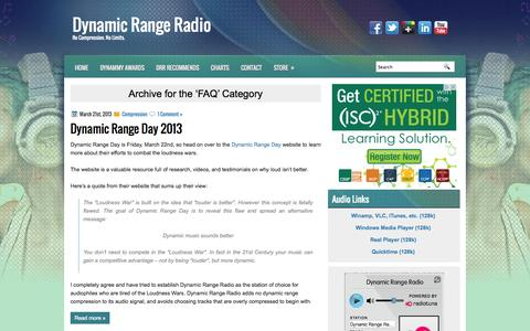 Screenshot of FAQ Page dynamicrangeradio.ca - FAQ Archives - Dynamic Range Radio | Dynamic Range Radio - captured Sept. 30, 2014