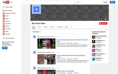 Screenshot of YouTube Page youtube.com - My Future Role  - YouTube - captured Oct. 26, 2014