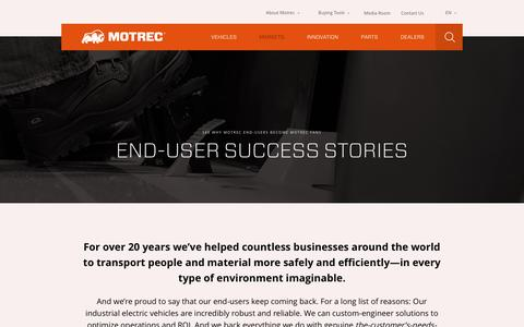 Screenshot of Case Studies Page motrec.com - Case Studies | Motrec - captured Dec. 14, 2016