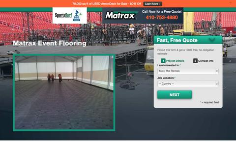 Screenshot of Landing Page matraxinc.com - Event Flooring LP3 | Matrax - captured Oct. 27, 2014