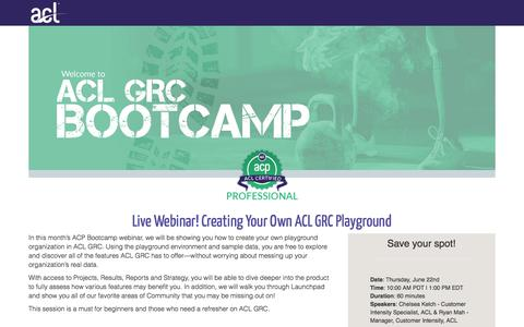 Screenshot of Landing Page acl.com - Creating Your Own ACL GRC Playground - captured March 4, 2018