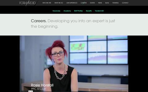 Screenshot of Jobs Page forward3d.com - Careers — Forward3D - Digital Marketing Agency - captured Sept. 21, 2018
