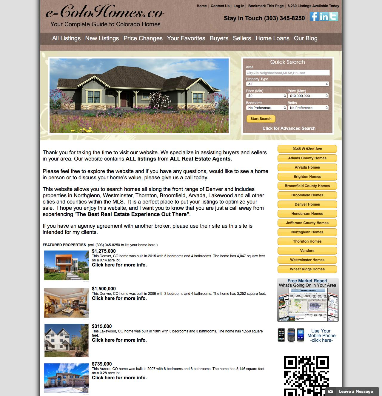 Screenshot of conveyanceco.com - Denver and the Front Range Homes for Sale - captured Jan. 31, 2016