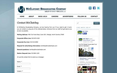 Screenshot of Contact Page mcclatcheybc.com - Contact McClatchey | McClatchey Broadcasting Company - captured Oct. 27, 2014