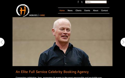 Screenshot of Home Page heroesforhire.info - Heroes for Hire - Heroes for Hire can assist you in finding the perfect celebrity to inspire, motive, and entertain at your event. - captured July 19, 2018