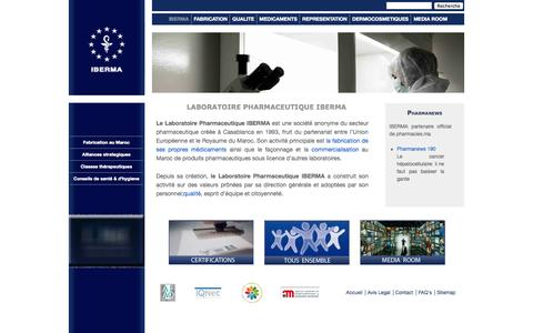 Screenshot of Home Page FAQ Page Site Map Page iberma.com - LABORATOIRE PHARMACEUTIQUE IBERMA - captured Sept. 30, 2014