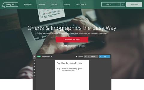 Screenshot of Home Page infogr.am - Create online charts & infographics   infogr.am - captured Nov. 11, 2016