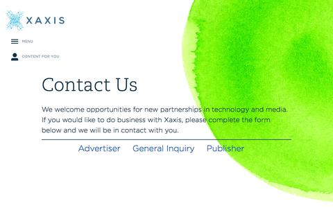 Screenshot of Contact Page xaxis.com captured Sept. 18, 2014