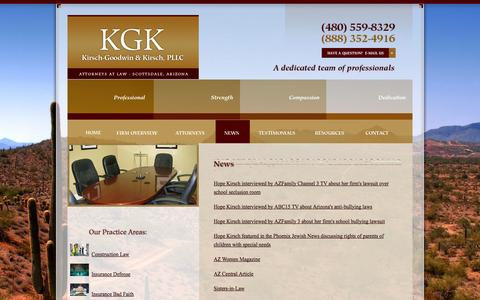 Screenshot of Press Page kgklaw.com - News | Kirsch-Goodwin & Kirsch, PLLC | Scottsdale Arizona - captured Oct. 1, 2014