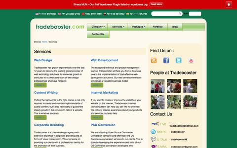 Screenshot of Services Page tradebooster.com - Services   Tradebooster - captured Oct. 1, 2014