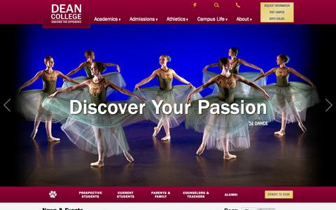 Screenshot of Home Page dean.edu - Discover the Dean Difference - Dean College - captured Oct. 5, 2014