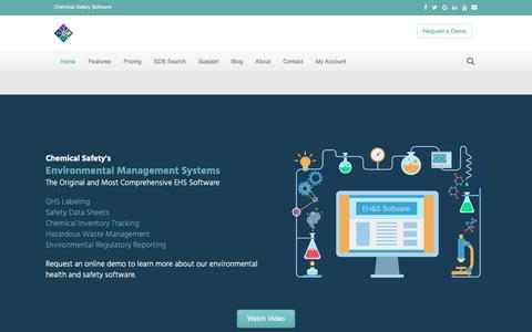 Screenshot of Home Page chemicalsafety.com - EHS Software | Chemical Safety's Environmental Management Systems - captured Sept. 30, 2018