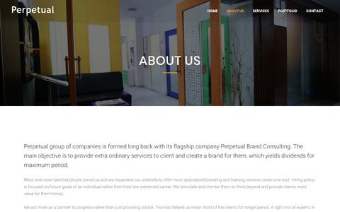 Screenshot of About Page perpetual.co.in - Perpetual Group of Companies | Branding Solution and Management Company - captured Sept. 27, 2018