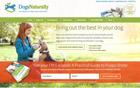 Screenshot of Home Page dogsnaturallymagazine.com - Holistic and Natural Dog Diets, Vaccines, and Remedies for Fleas, Ticks and Heartworm - captured Sept. 19, 2014