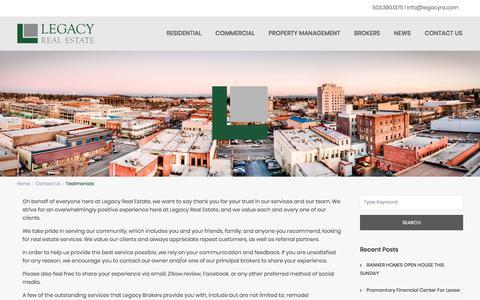 Screenshot of Testimonials Page legacyre.com - Testimonials - Legacy Real EstateLegacy Real Estate - captured Feb. 14, 2018