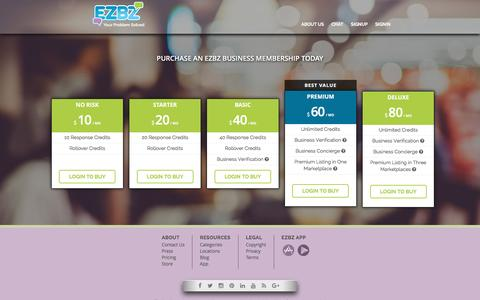 Screenshot of Pricing Page myezbz.com - Pricing for Small Businesses Joining the EZBZ Concierge Service | EZBZ - captured Sept. 15, 2016