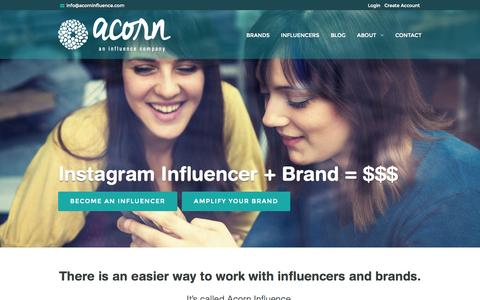 Screenshot of Home Page acorninfluence.com - Influence Marketing Made Simple and Affordable - Acorn Influence - captured Jan. 23, 2015