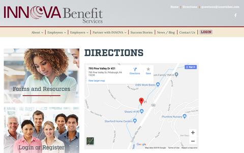 Screenshot of Maps & Directions Page innovaben.com - Directions – Innova Benefit Services - captured Oct. 1, 2018