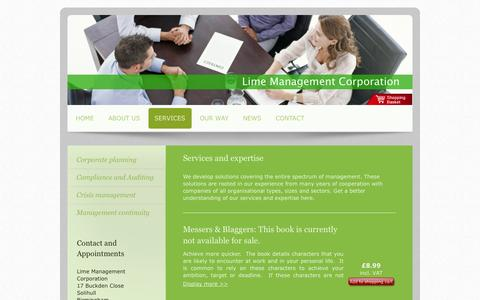 Screenshot of Services Page lime-management-corporation.co.uk - Services - Lime Management Corporation - captured Sept. 30, 2014