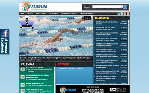 Screenshot of Home Page fhsaa.org - FHSAA.org | Florida High School Athletic Association - captured Sept. 24, 2018