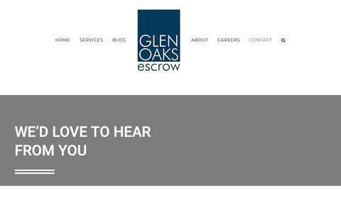 Screenshot of Contact Page glenoaksescrow.com - Contact - Glen Oaks Escrow - captured June 14, 2019