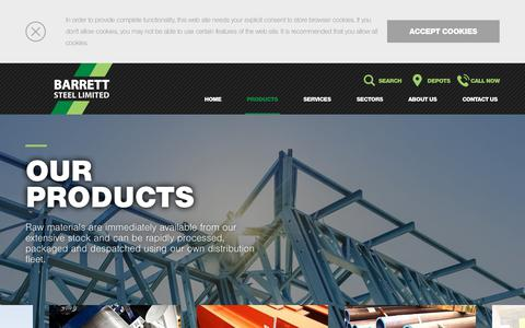 Screenshot of Products Page barrettsteel.com - Products - Barrett Steel - captured Oct. 5, 2018