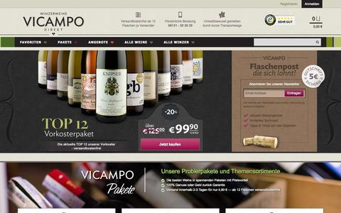 Screenshot of Home Page vicampo.de - Wein online kaufen & bestellen - Weinversand   Vicampo.de - captured Nov. 13, 2015