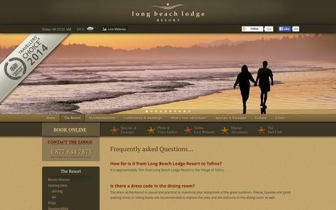 Screenshot of FAQ Page longbeachlodgeresort.com - Tofino Hotel Accommodations at Long Beach Lodge Resort | FAQs - captured Sept. 19, 2014