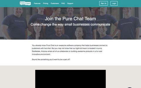 Screenshot of Jobs Page purechat.com - Careers and Hiring for Pure Chat - captured March 31, 2016