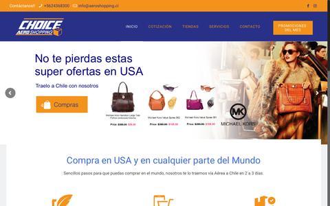 Screenshot of Home Page casillachoice.com - Choice Aeroshopping / Servicio Casilla en Miami, Courier Internacional - captured July 3, 2018